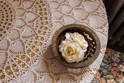 Tablecloth and roses, photograph