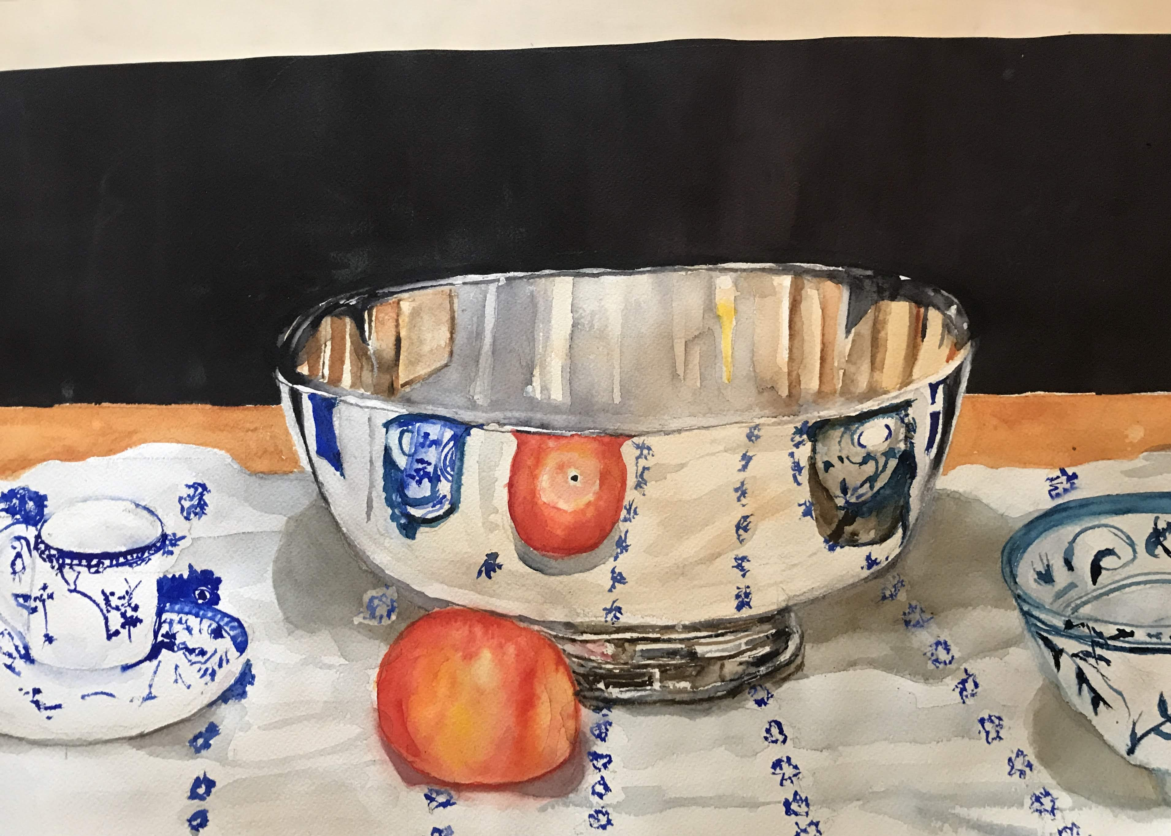 Oil painting of a silver bowl