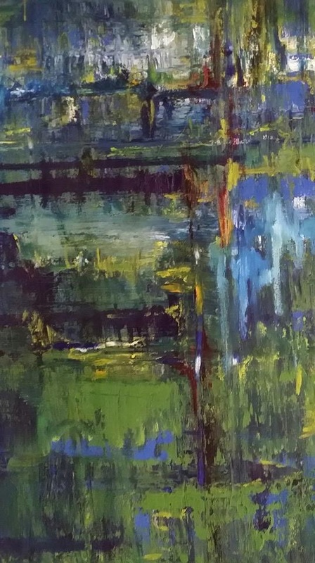 Abstract oil painting with woodland image
